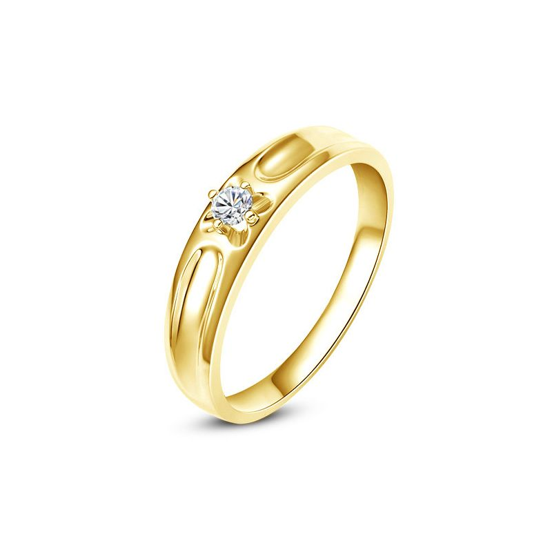 Alliance fleur d'or jaune et diamant - Alliance Homme | Cagney