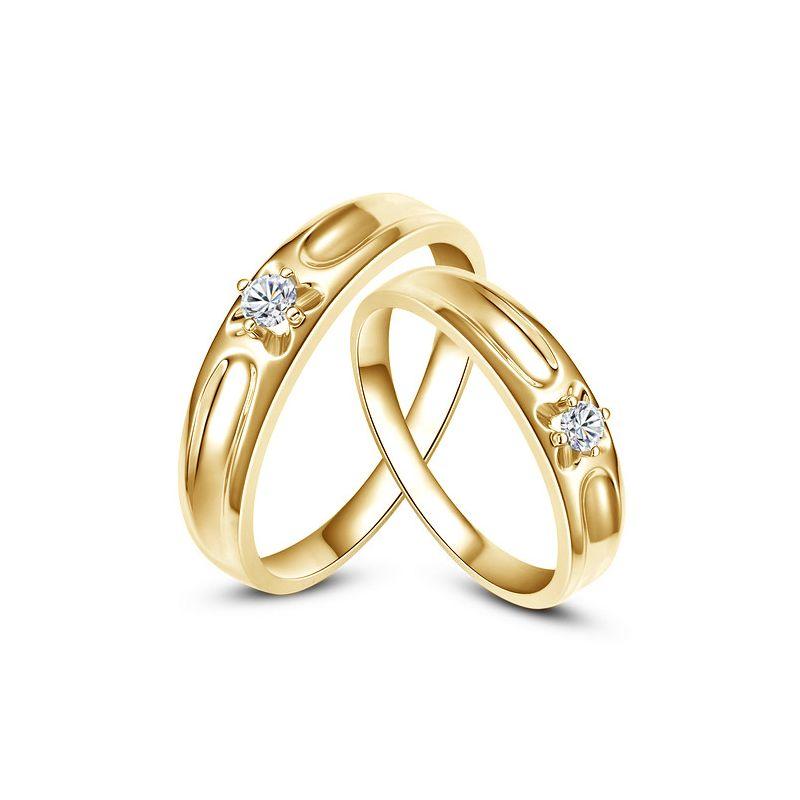 Alliances fleurs d'or jaune et diamants - Alliances Duo |Carenn & Cagney