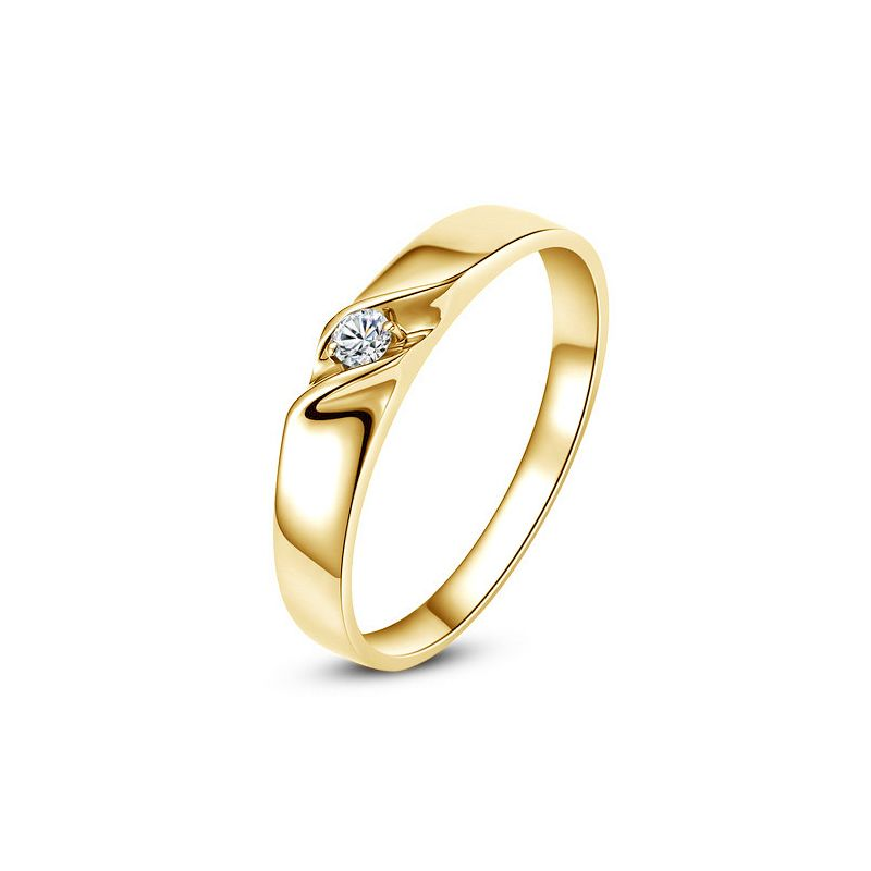 Alliance mariage en or - Alliance Femme - Or jaune 18 carats - Diamant