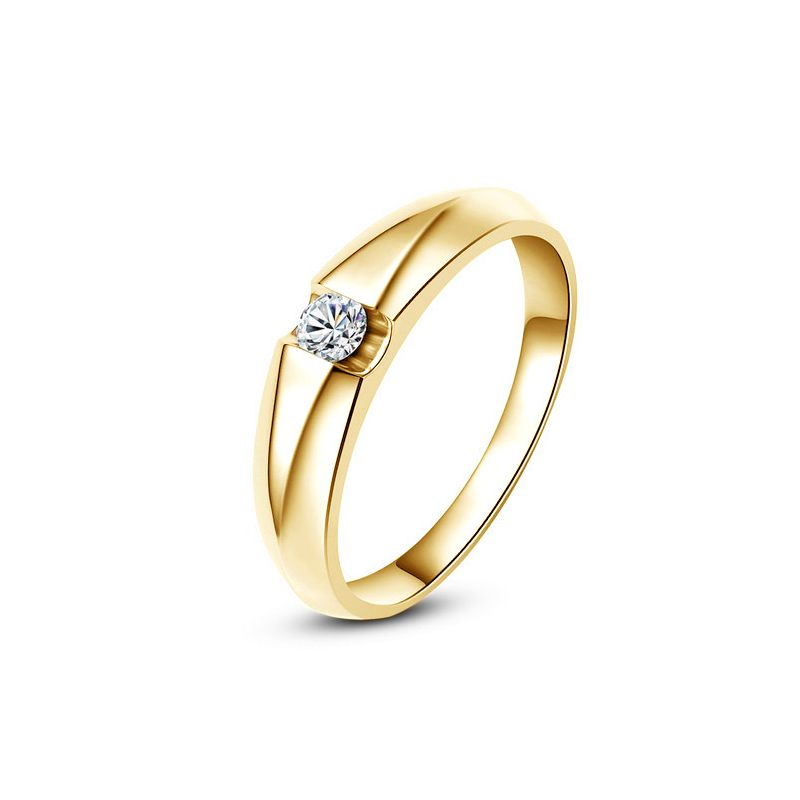 Alliance solitaire or jaune - Bague alliance diamant pour Femme | Destiny