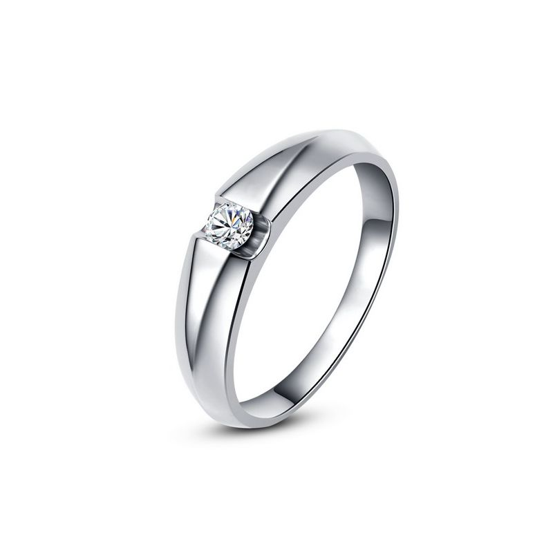 Alliance solitaire or blanc - Bague alliance diamant pour Homme | Marquis