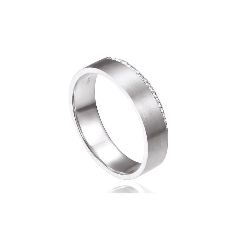 Alliance Clizia - Or Blanc Brossé 18cts pour Femme - Liseré de 19 Diamants | Gemperles