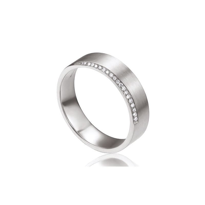 Alliance Ryan - Or Blanc Brossé 18cts pour Homme - Liseré de 19 Diamants | Gemperles