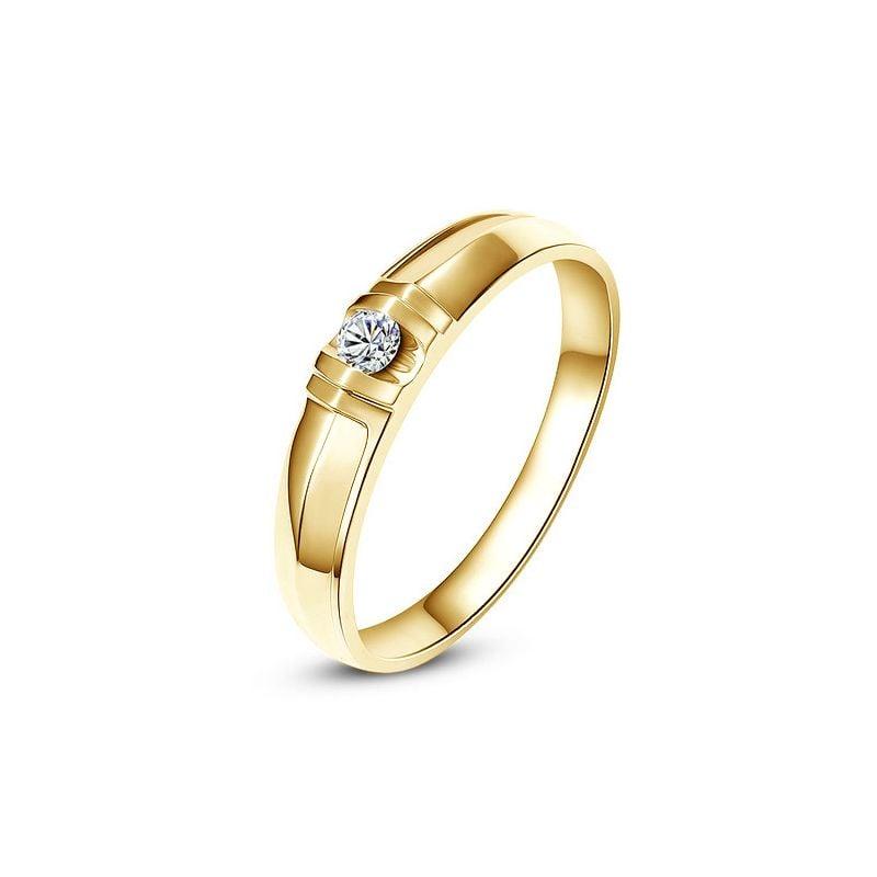 Alliance solitaire sophistiqué. Alliance femme. Or jaune, Diamant   Mathilde