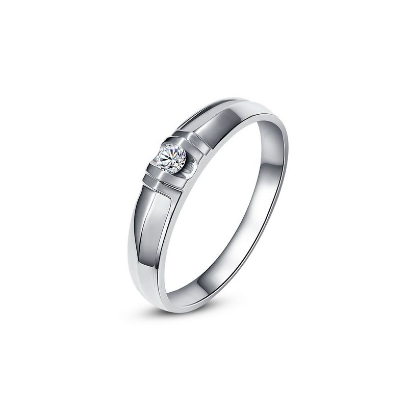 Alliance solitaire sophistiqué - Alliance homme - Or blanc, Diamant | Schubert