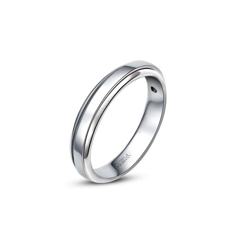 Anneau d'or blanc 750/1000. Alliance androgyne Homme. Diamant | Horizon
