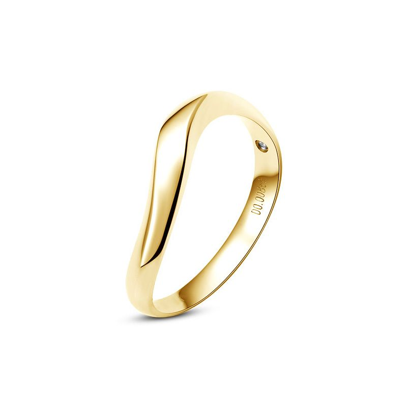 Alliance ondulée or jaune - Alliance homme avec diamant