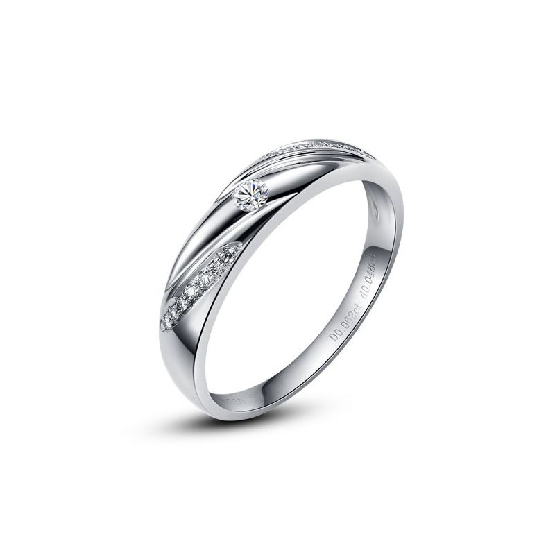 Alliance Étoile - Alliance or blanc diamants - Alliance Femme