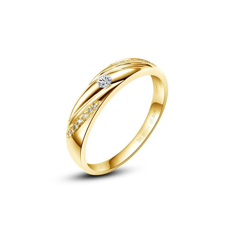 Alliance Étoile - Alliance or jaune diamants - Alliance Homme