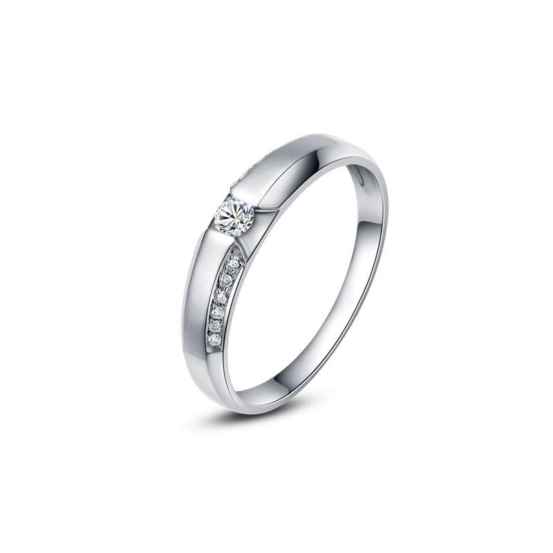 Achat alliance mariage - Alliance Solitaire Femme - Platine, diamants | Garland