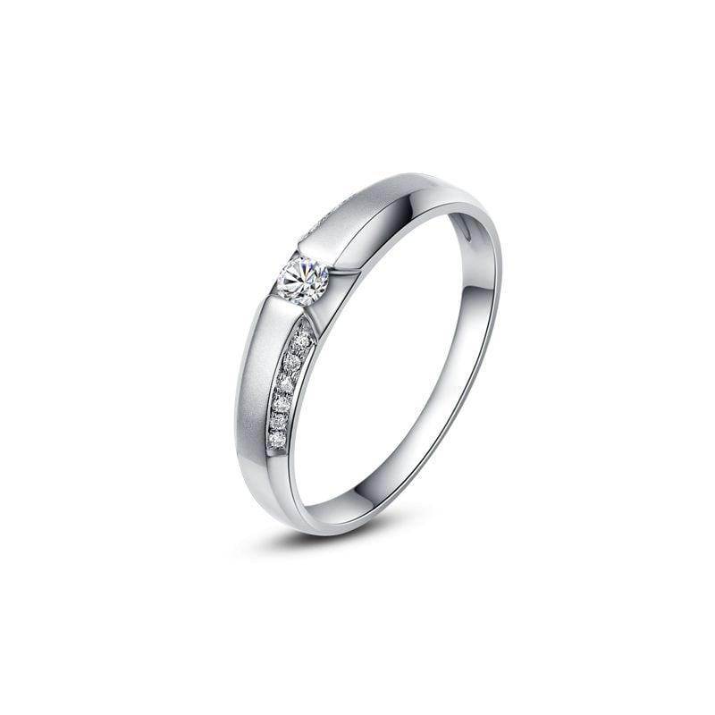 Achat alliance mariage - Alliance Solitaire Homme - Platine, diamants | Léon