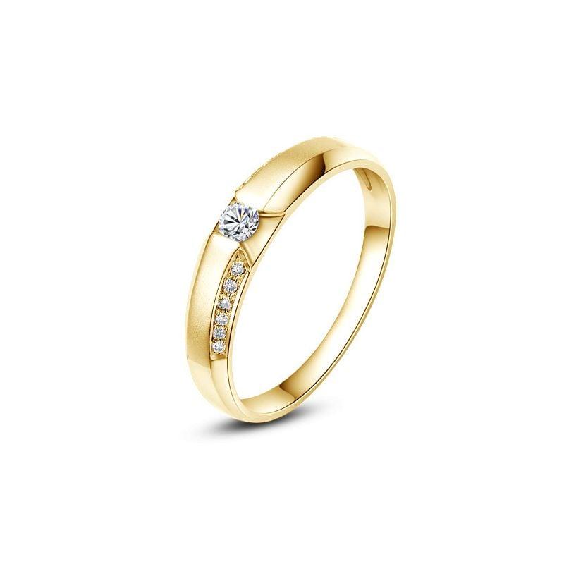 Achat alliance mariage - Alliance Solitaire Homme - Or jaune, diamants | Colin