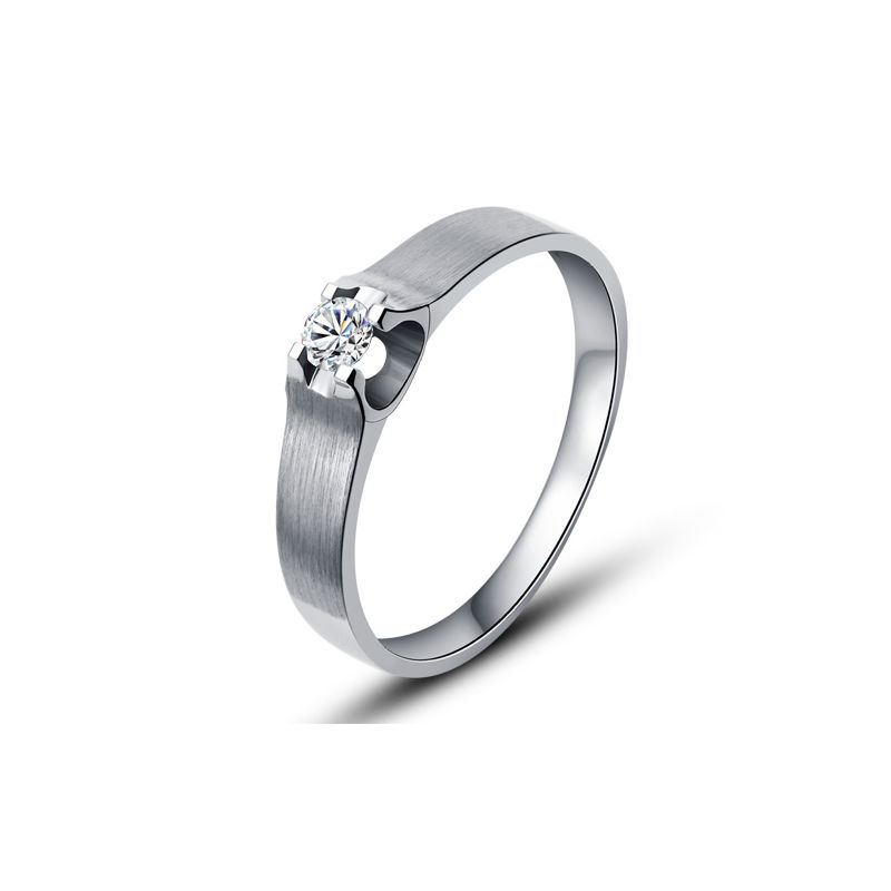 Alliance or blanc et diamant - Alliance solitaire pour Homme