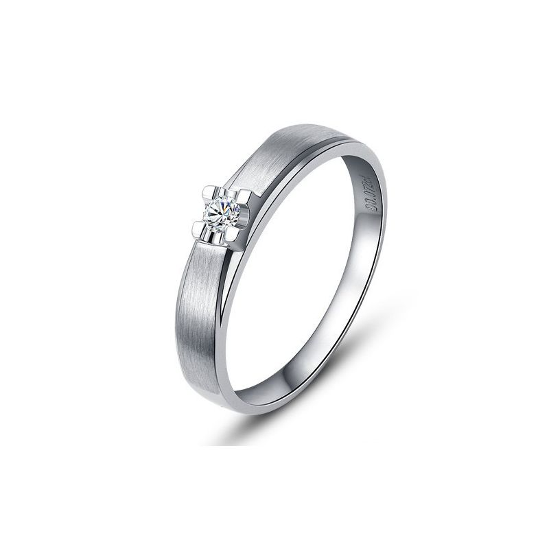 Alliance solitaire or - Alliance Homme - Or blanc - Diamant
