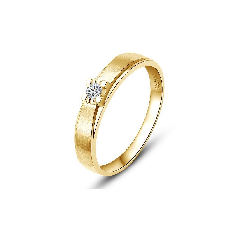 Alliance solitaire or - Alliance Femme - Or jaune - Diamant
