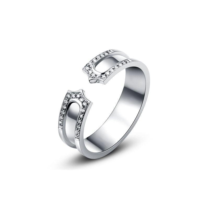 Alliance or blanc originale - Anneau discontinu pour Elle - Diamants | Sima