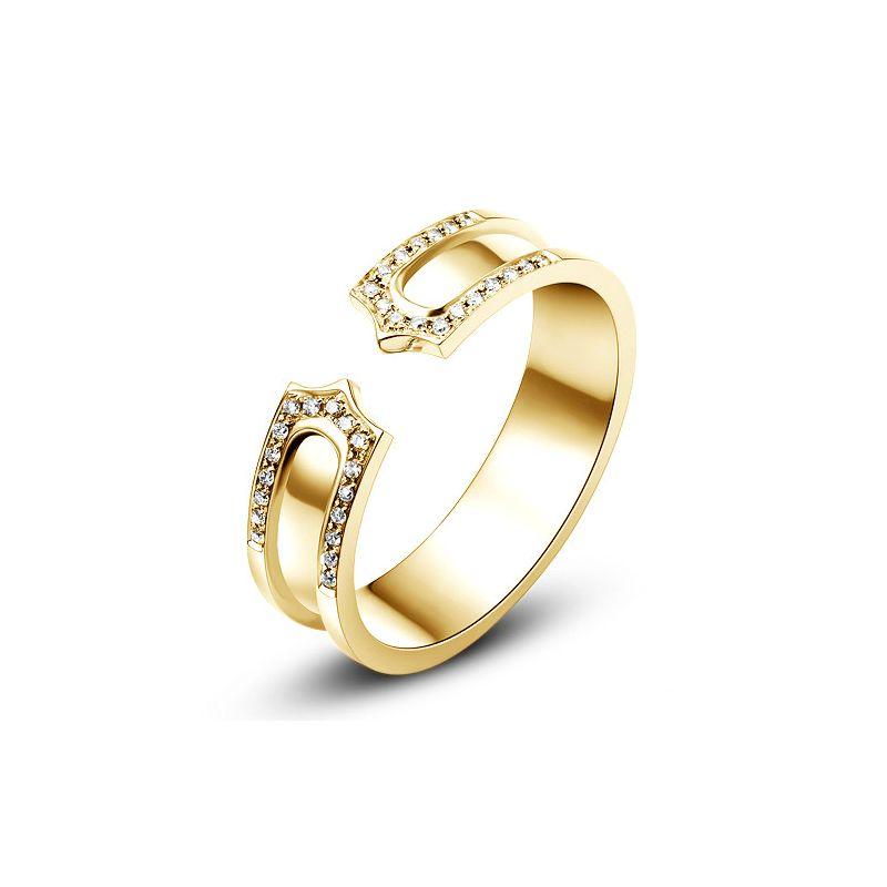 Alliance or jaune originale - Anneau discontinu pour Lui - Diamants