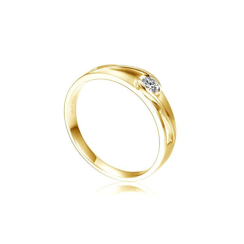 Alliance solitaire ajouré - Alliance Femme diamant or jaune
