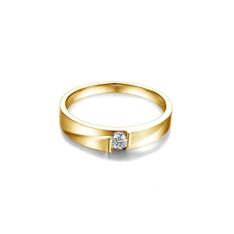 Alliance diamant sertissage demi clos - Métal or jaune 18cts - Femme