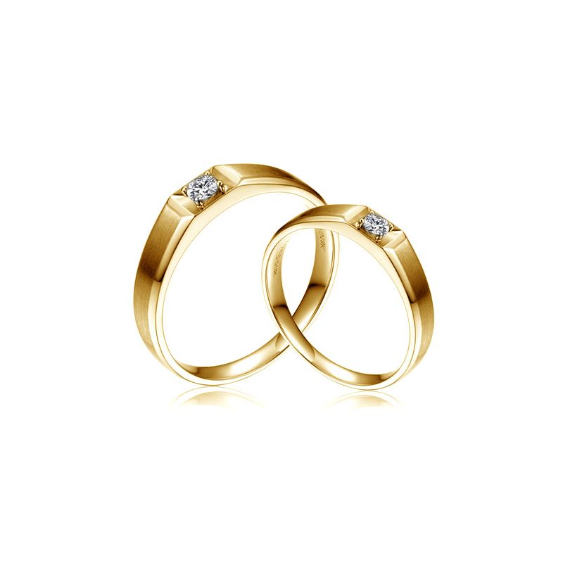 Alliances Couple. Or jaune. Diamants 0.200ct