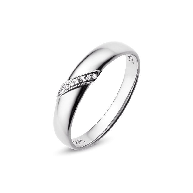 Alliance de Mariage Homme Sacha - Or Blanc & Diamants