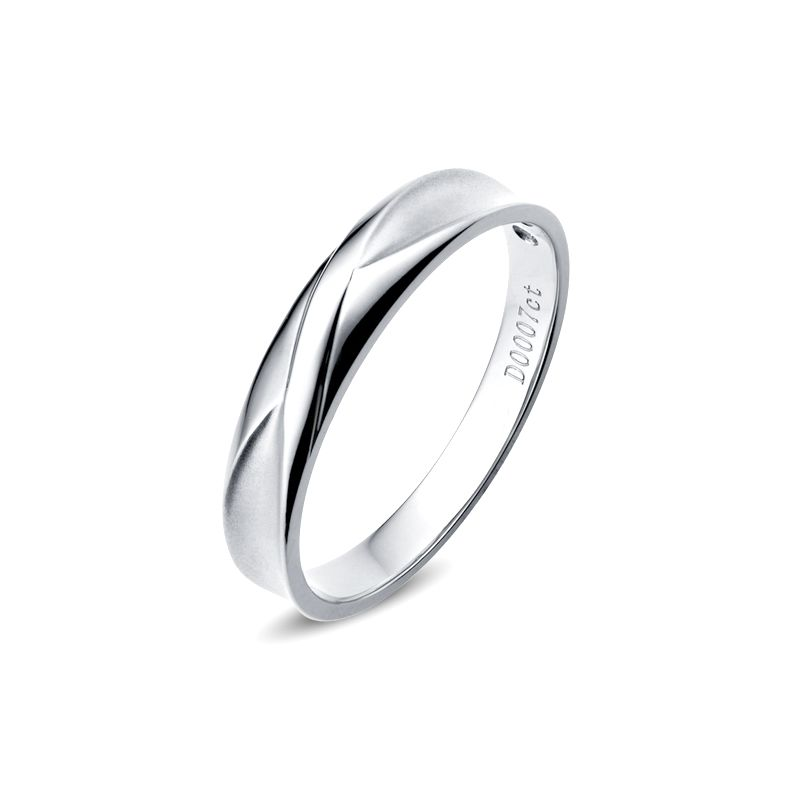 Alliance Homme. Or blanc. Diamant 0.007ct