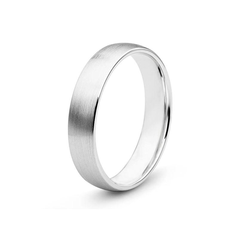 Alliance diamant or blanc - Lignes pures - Homme