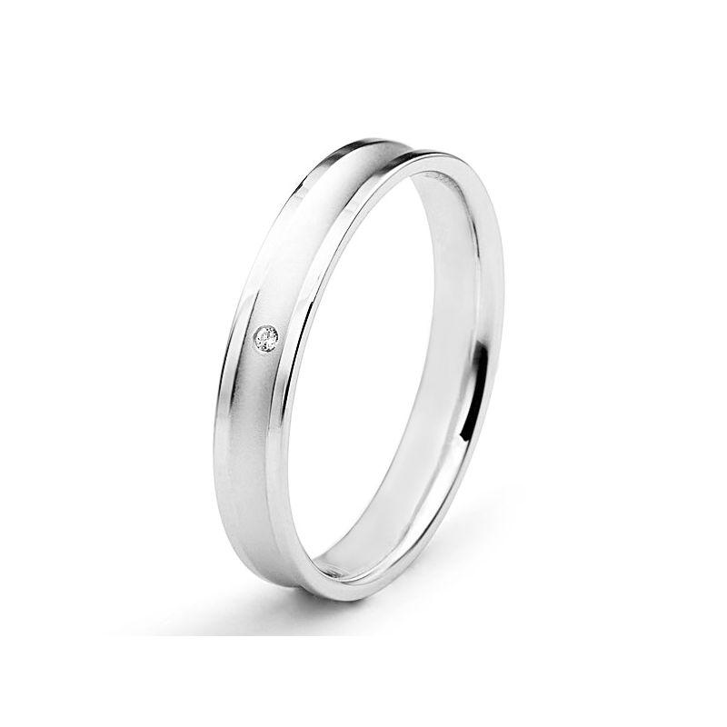 Alliance Femme en or blanc et diamant - Incurvation précieuse