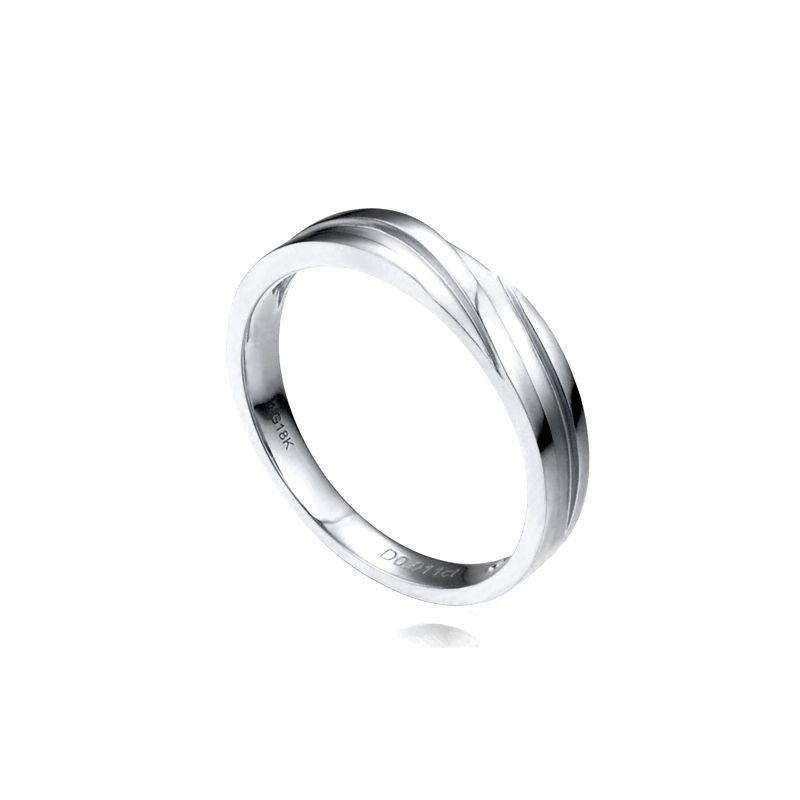 Alliance homme or blanc stylé en diagonale. Diamant clos | Bhalcan