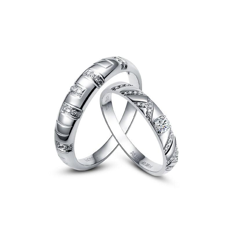 Duo d'alliances parsemée - Platine, diamants
