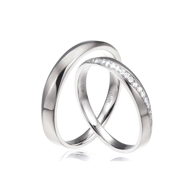 Alliances modernes homme et femme. Or blanc 18cts, diamants | Tea & Ovidio