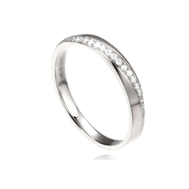 Alliance Femme platine, diamants. Ondulation