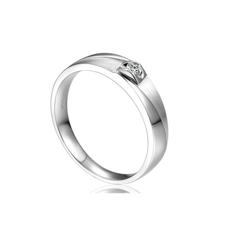 Alliance Renzo Brossée et Polie Or Blanc, Diamant | Gemperles