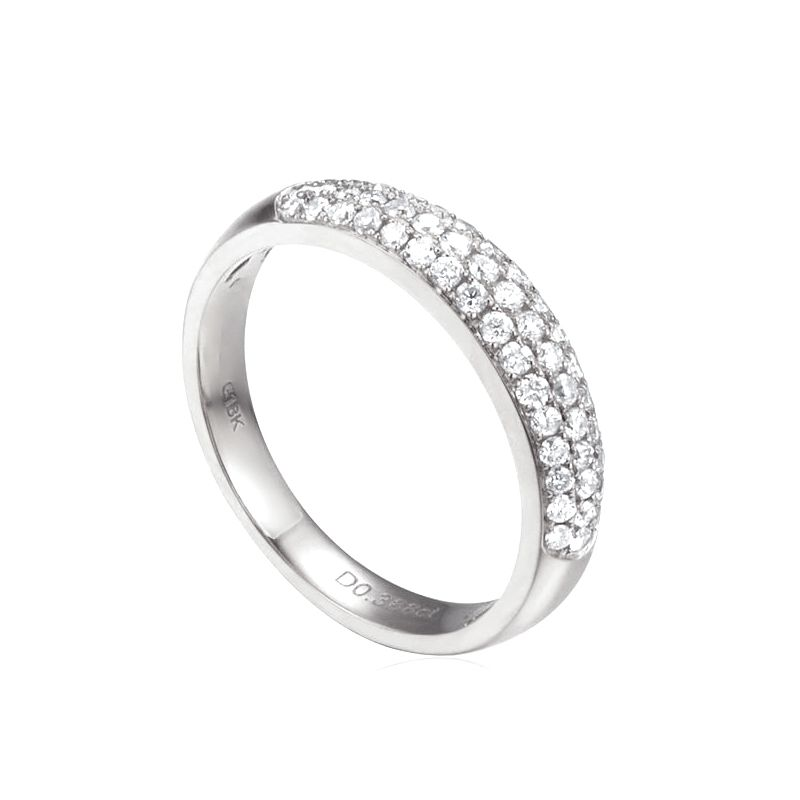 Alliance bombée Or blanc 18 carats. 49 diamants 0.388ct | Bianca
