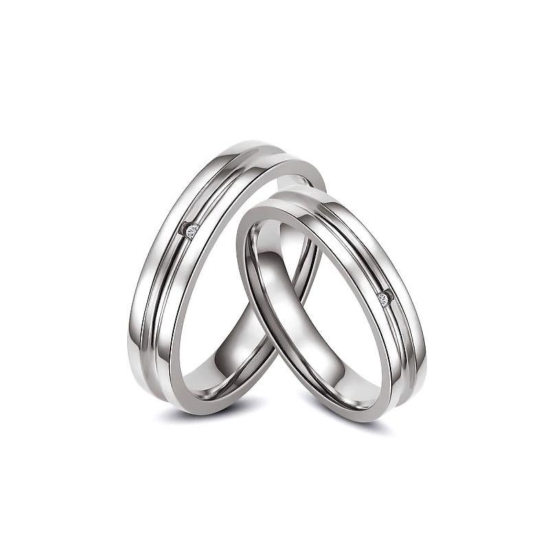 Bagues alliances Duo - Anneaux diamants or blanc | Lavinia & Carmelo