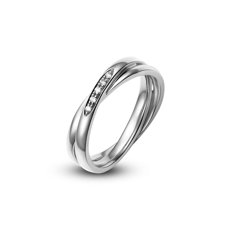 Alliance 2 anneaux platine Femme - Diamants   Marthe
