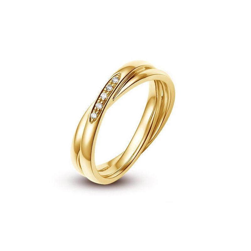 Alliance 2 anneaux or jaune Femme - Diamants | Jessica