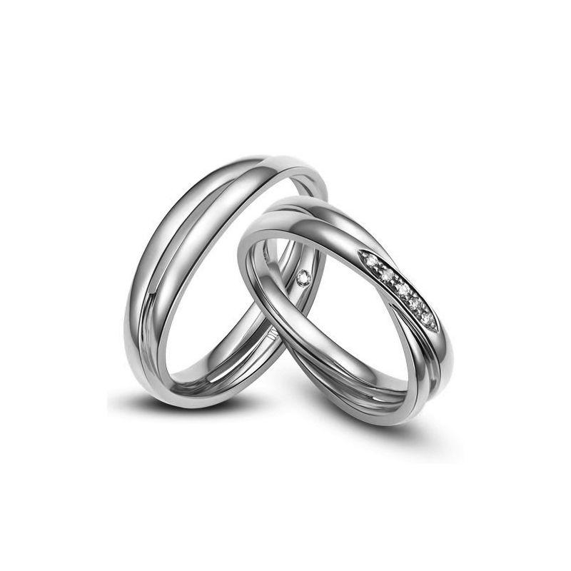 Duo d'alliances 2 anneaux or blanc - Diamants | Marthe & Andreas