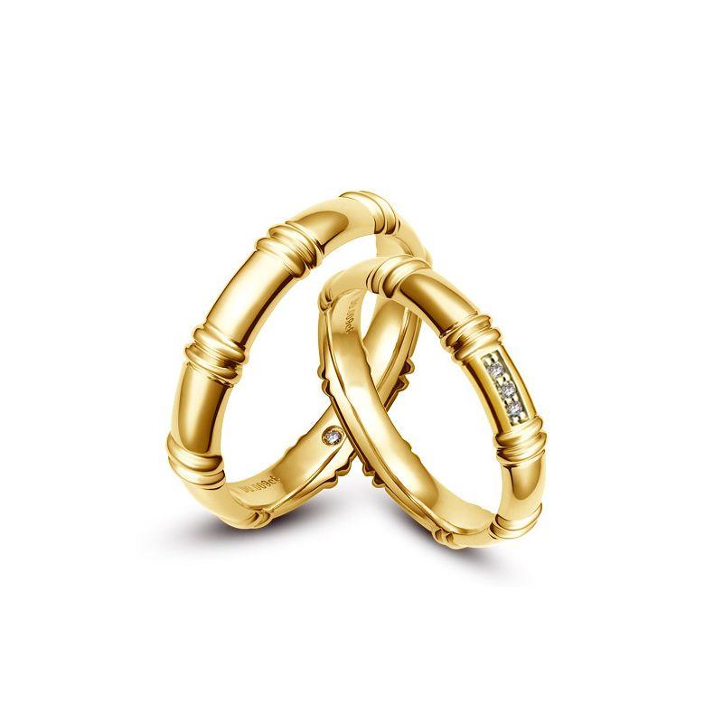 Alliances en or jaune 18 carats - Alliances diamants pour couple | Hortense & Beethoven