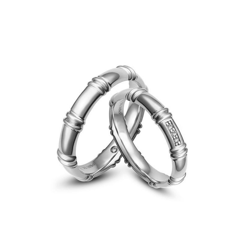 Alliances platine - Alliances diamants pour couple   Bambou platine