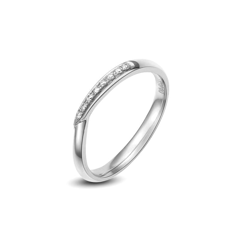 Alliance bague facettée - Alliance diamant Femme - Platine