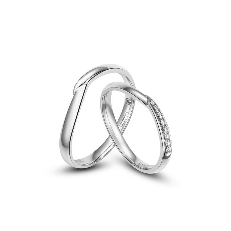 Alliances or blanc diamants - Duo d'alliances