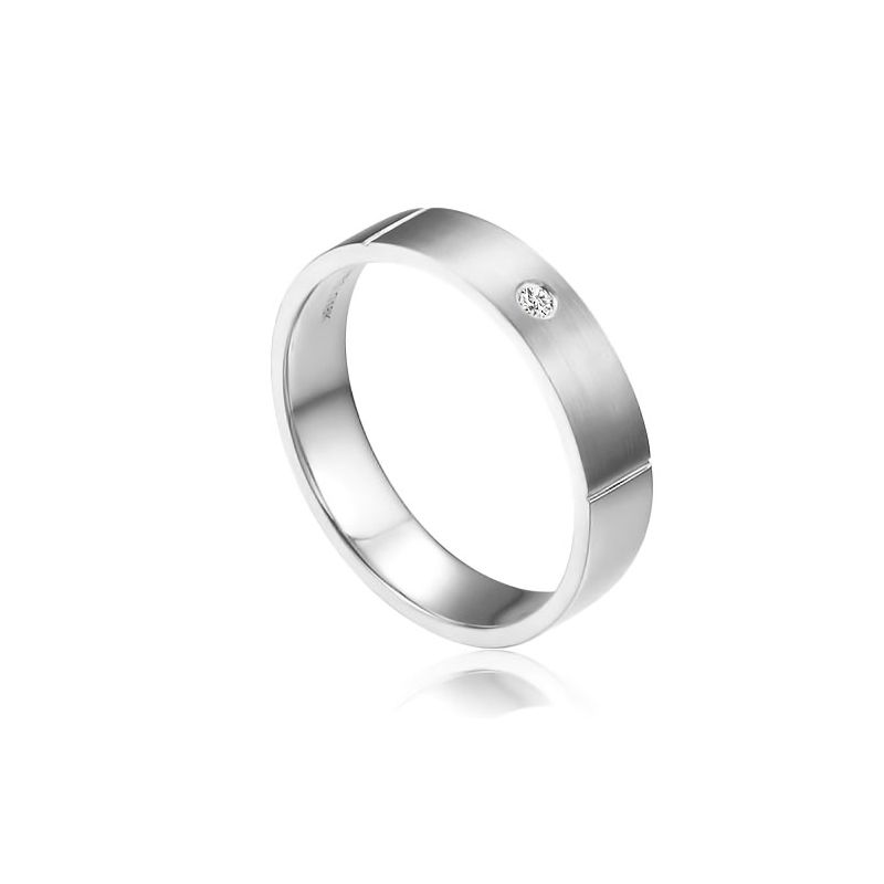 Alliance Mariage Homme Hare I Or blanc Poli Brossé, Diamant