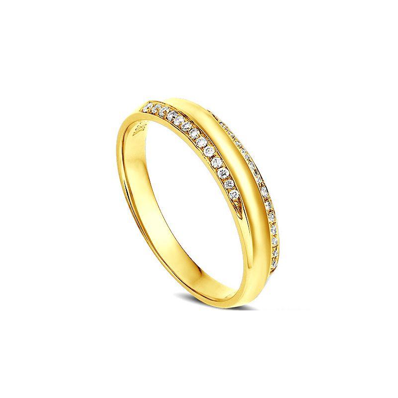 Alliance Femme. Or jaune. Diamants 0.11ct