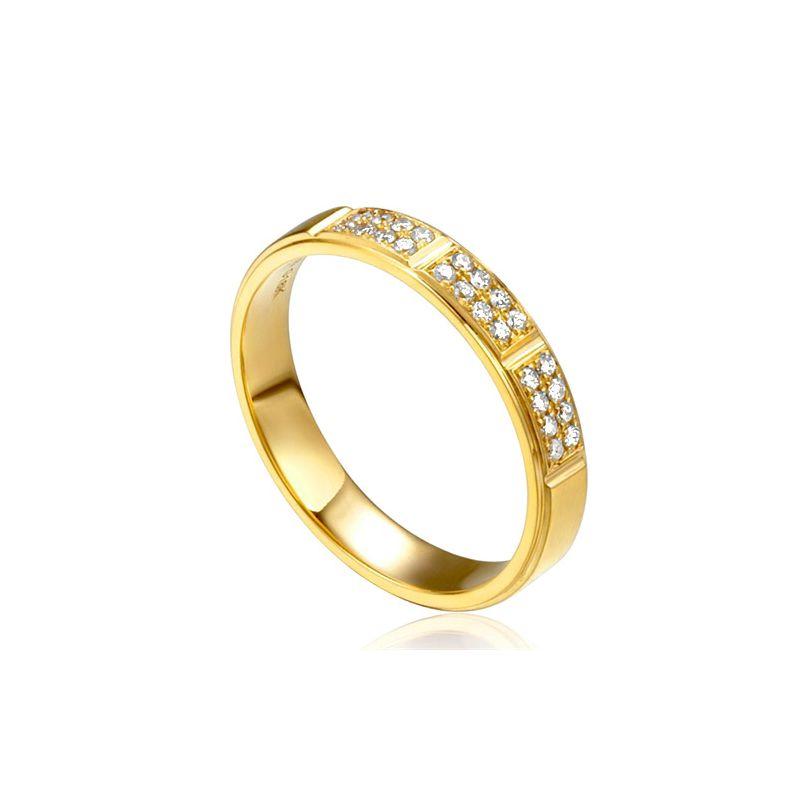 Alliance biseautée femme - Or jaune pavage diamants