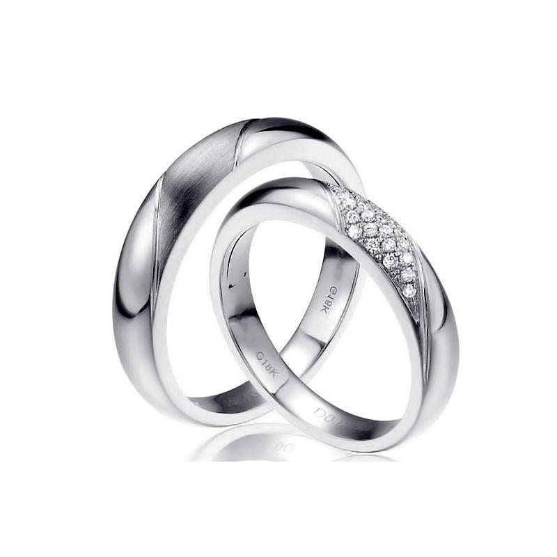 Alliances Duo - Platine - Diamants | Autour de moi