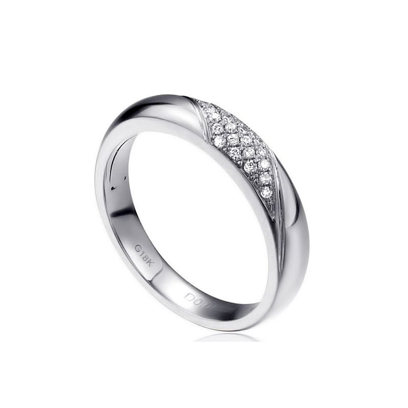 Fede Nuziale da Donna Attorno A Me - Fedina Oro Bianco, Diamante