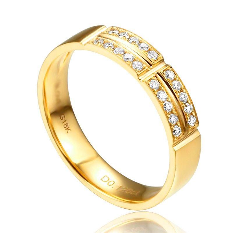 Alliance biseautée femme - Or jaune - Pavage Diamants