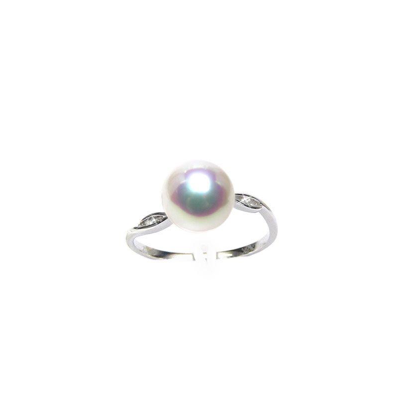 Anello Sakura - Oro Bianco, Diamanti e Perla Akoya