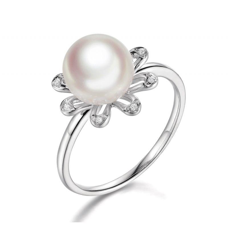 Anello Yuki No Hana - Oro Bianco, Diamanti e Perla Akoya